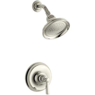 Bancroft 1-Spray 6.83 in. 2.5 GPM Fixed Shower Head with Metal Lever Handle in Polished Nickel