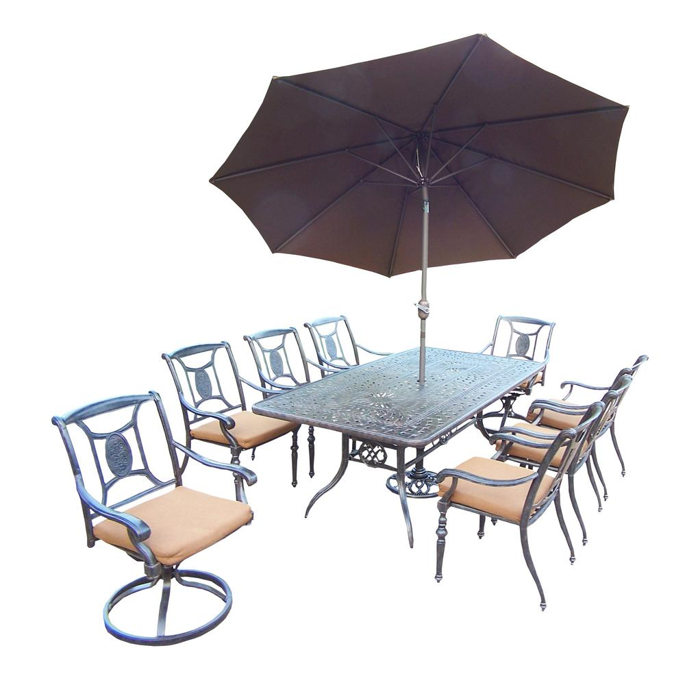 11-Piece Aluminum Patio Dining Set with Sunbrella Brown Cushions and Brown