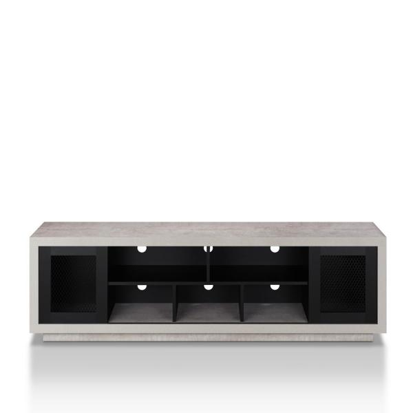 Chapin 71 in. Black Particle Board TV Stand Fits TVs Up to 80 in. with Storage Doors