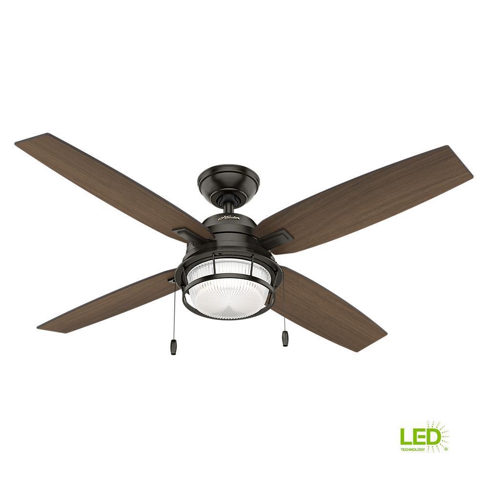 hunter ocala 52 in led indoor outdoor noble bronze ceiling fan with rh homedepot com
