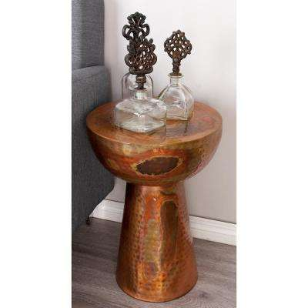 Bronze Metal Inverted Dome-Shaped Pedestal Stool
