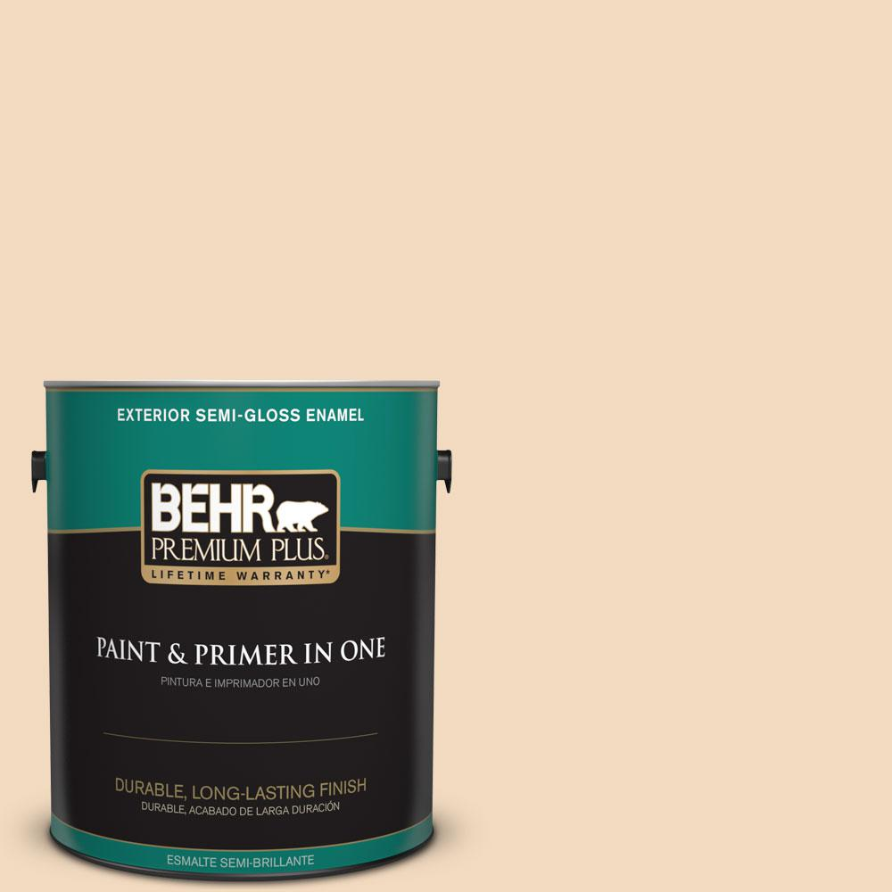 BEHR Premium Plus 1-gal. #S270-1 Frosted Toffee Semi-Gloss Enamel Exterior Paint