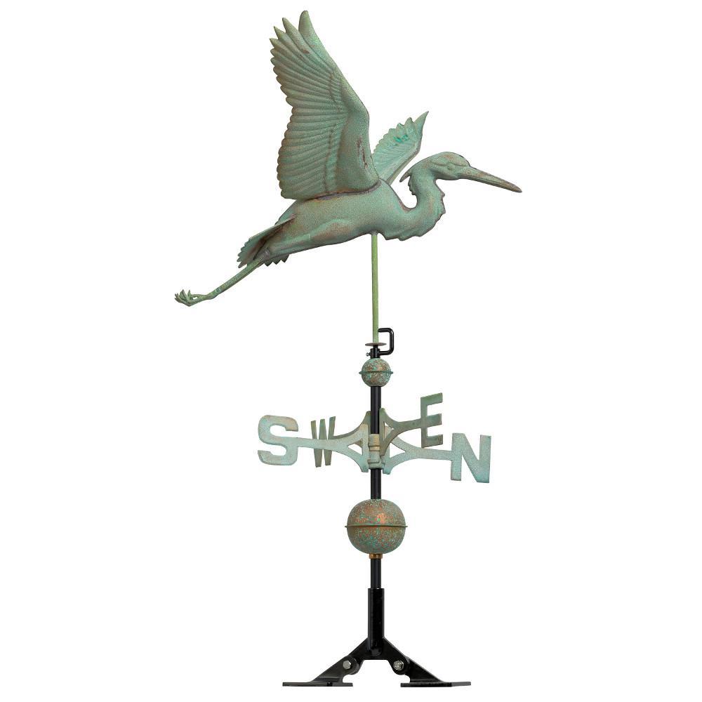 48 in. Verdigris Heron Copper Weathervane
