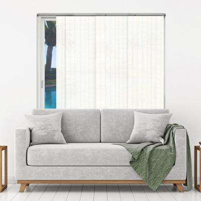 Adjustable Sliding Panel / Cut to Length, Curtain Drape Vertical Blind, Natural Woven, Privacy - Seaside White