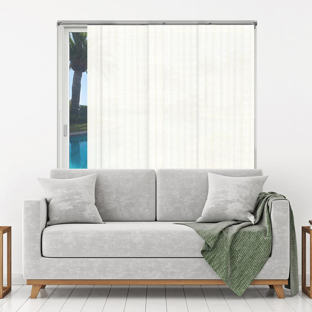 Panel Track Blinds Seaside White Polyester Cordless Vertical Blinds - 80