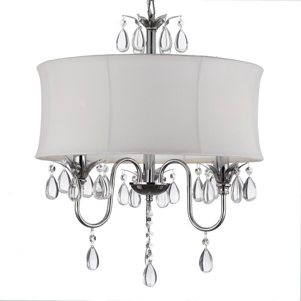 Contemporary 3 Light Chrome Chandelier With White Shade