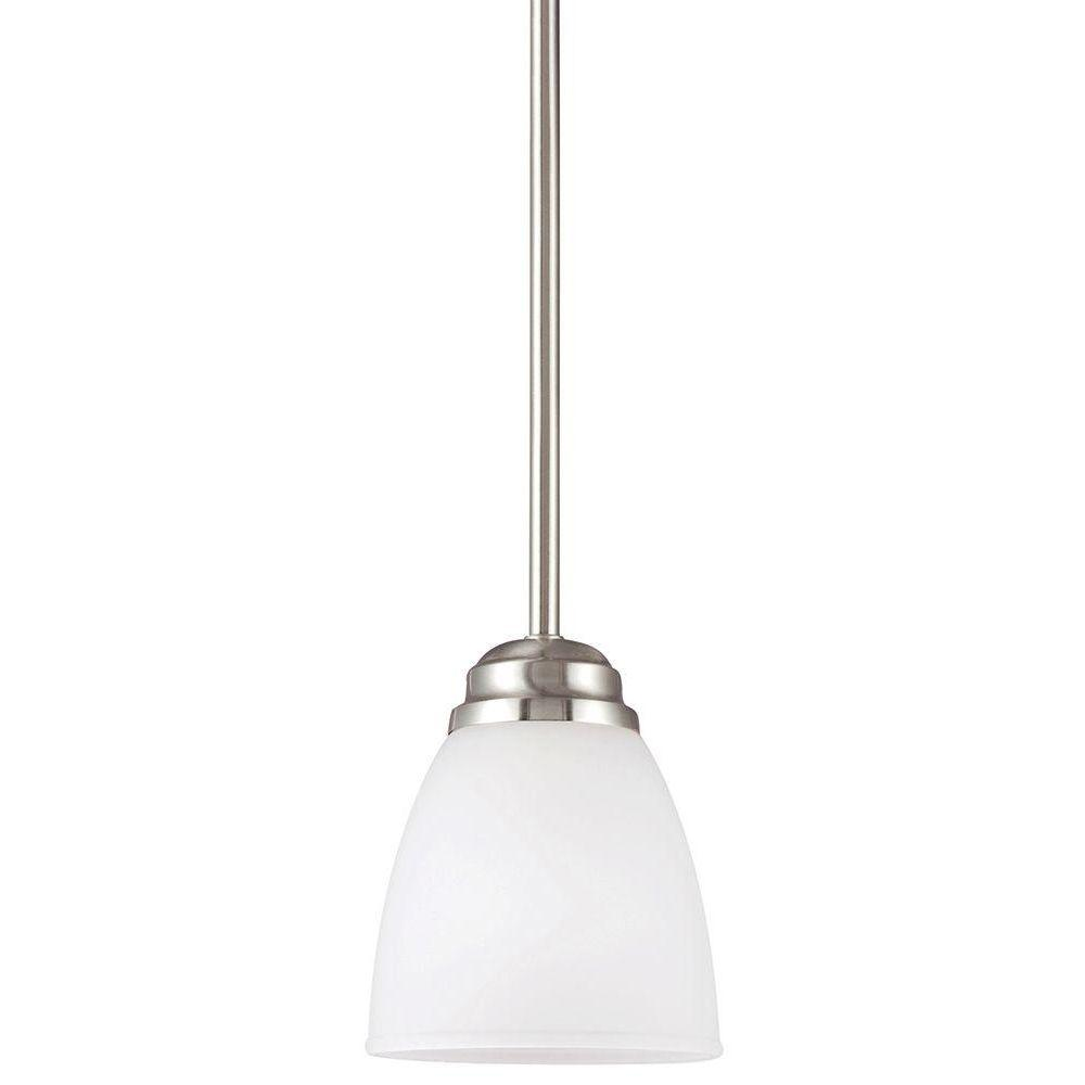 Perfect Sea Gull Lighting Northbrook 1 Light Brushed Nickel Mini Pendant With Satin  Etched Glass