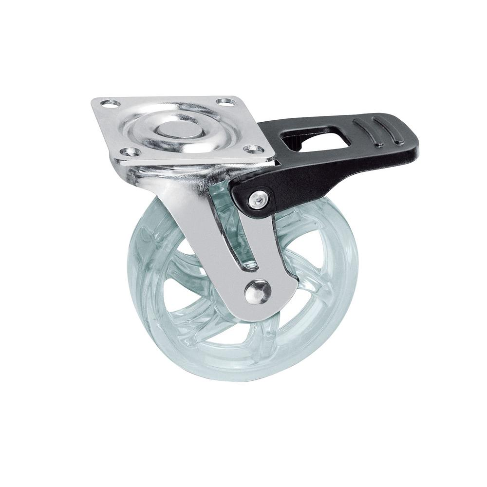 1-31/32 in. Clear Swivel with Brake Plate Caster, 66.1 lb. Load