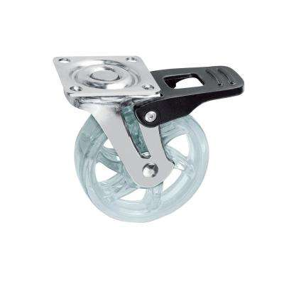 1-31/32 in. Clear Swivel with Brake Plate Caster, 66.1 lb. Load Rating