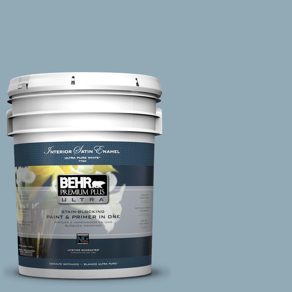 5 gal. #530F-4 Newport Blue Satin Enamel Interior Paint and Primer