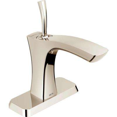 Tesla Single Hole Single-Handle Bathroom Faucet with Metal Drain Assembly in Polished Nickel