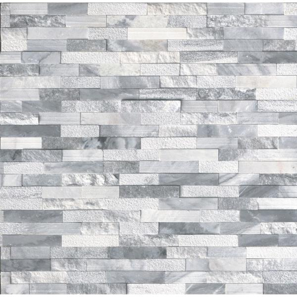Alaska Gray Ledger Panel 6 in. x 24 in. Textured Multi-Finish Natural Marble Wall Tile (10 cases /60 sq. ft. / Pallet)
