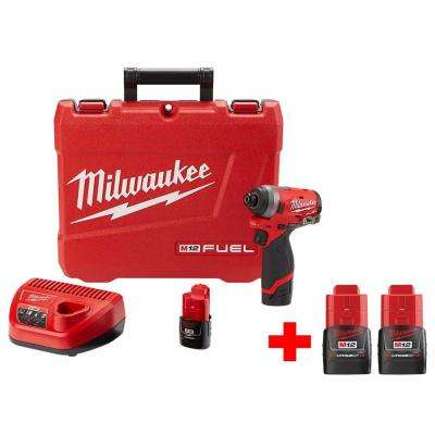 M12 FUEL 12-Volt Lithium-Ion Brushless Cordless 1/4 in. Hex Impact Driver Kit With Two Free M12 1.5Ah Batteries