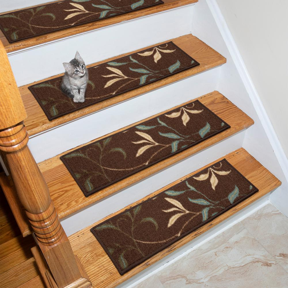 Ottohome Collection Chocolate 9 in. x 26 in. Rubber Back Stair