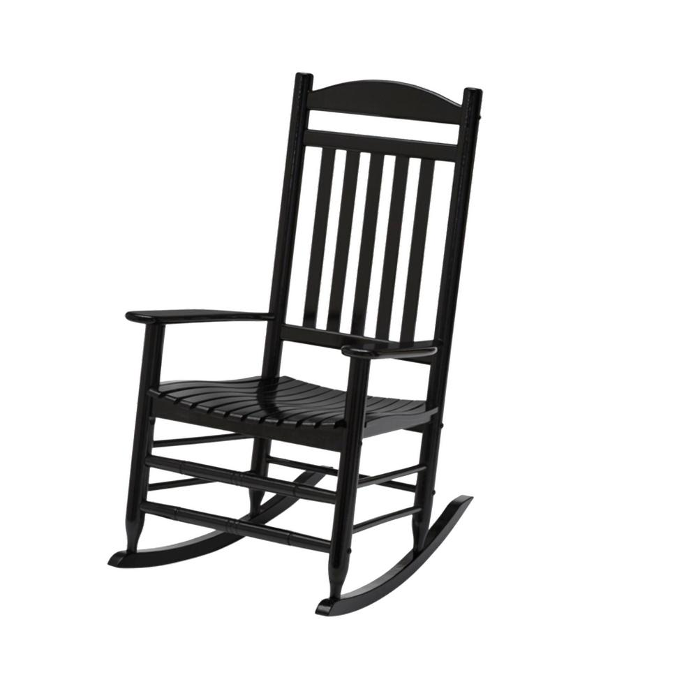 hamptonbay Hampton Bay Black Wood Outdoor Patio Rocking Chair