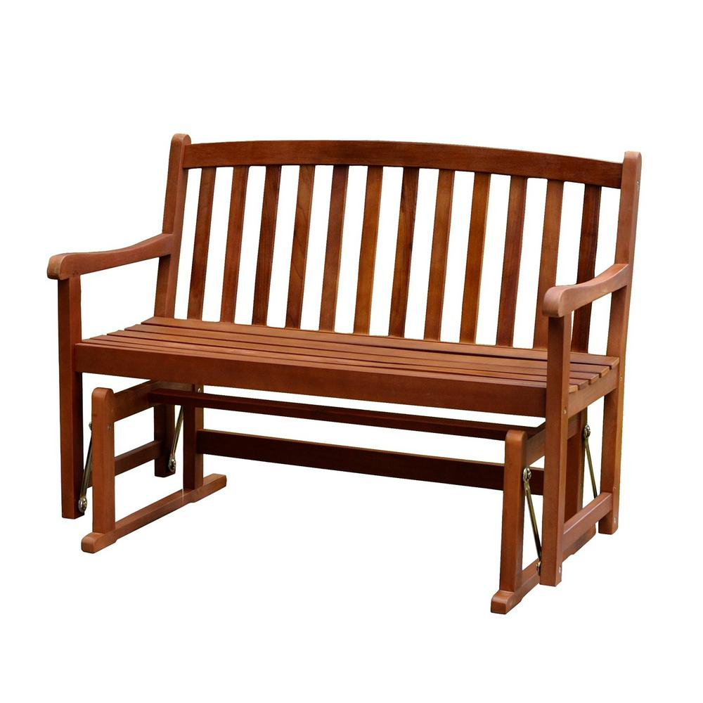 Glider Bench Wood Frame Durable Heavy Duty Weather Proof