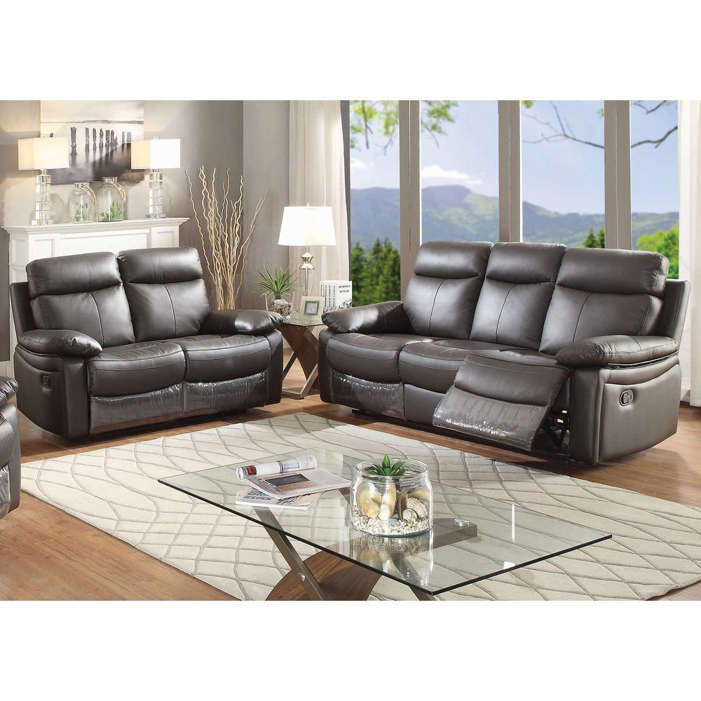 AC Pacific Ryker Contemporary 2-Piece Upholstered Leather Reclining Living  Room Sofa Set , Dark Brown