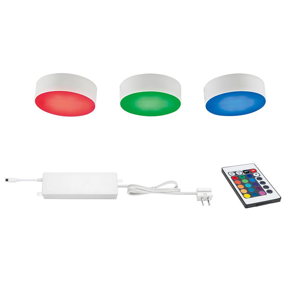 Led Puck Lights Home Depot: Commercial Electric 3-Light RGBW LED Puck Light Kit