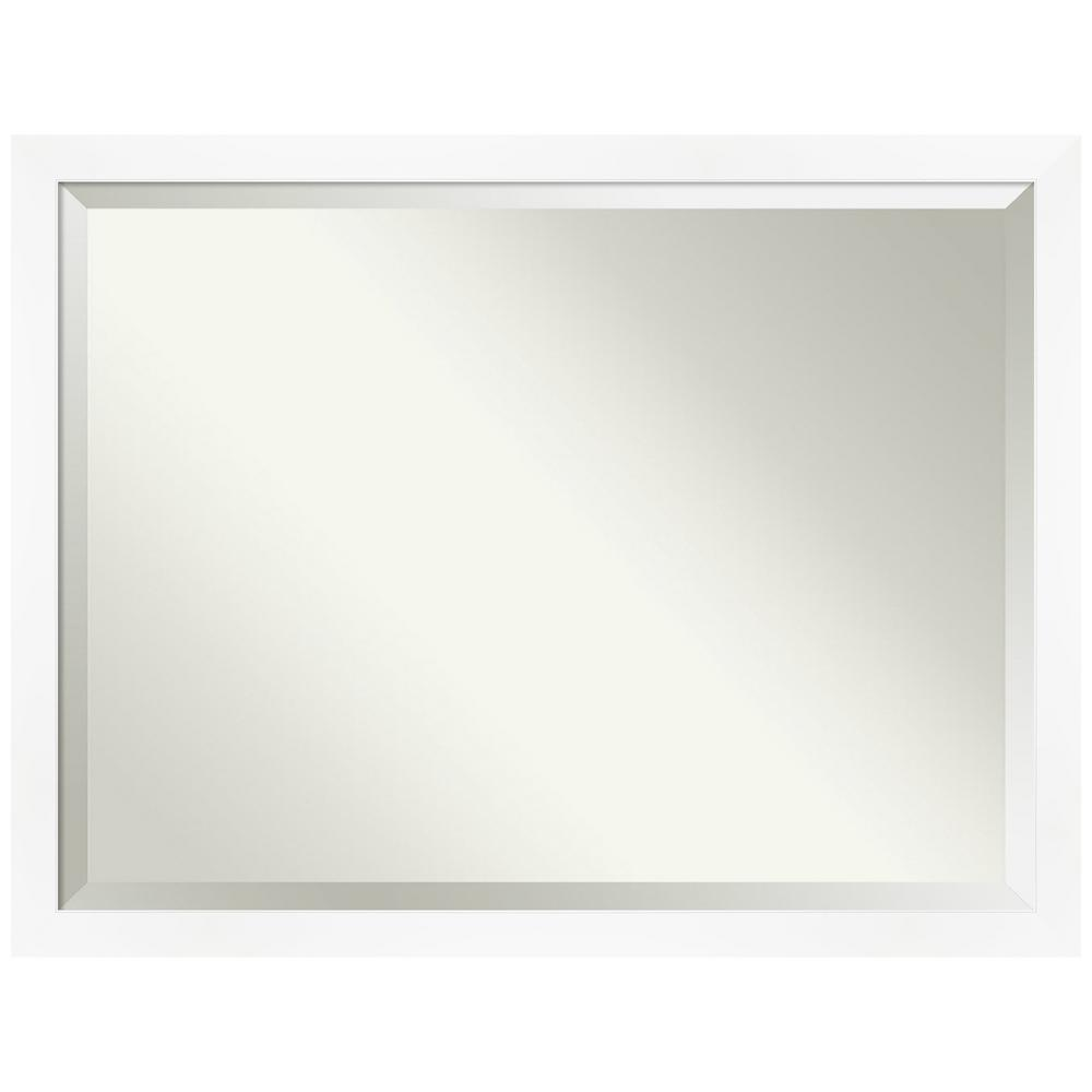 Amanti Art Medium Rectangle Matte White Beveled Glass Modern Mirror 33 25 In H X 43 25 In W Dsw4593672 The Home Depot