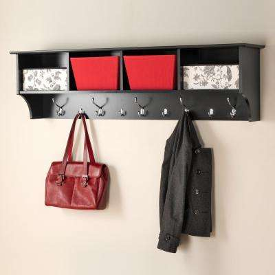 60 in. Wall-Mounted Coat Rack in Black