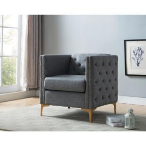 Pleasant Furniture Of America Adner Light Gray Linen Tufted Accent Caraccident5 Cool Chair Designs And Ideas Caraccident5Info
