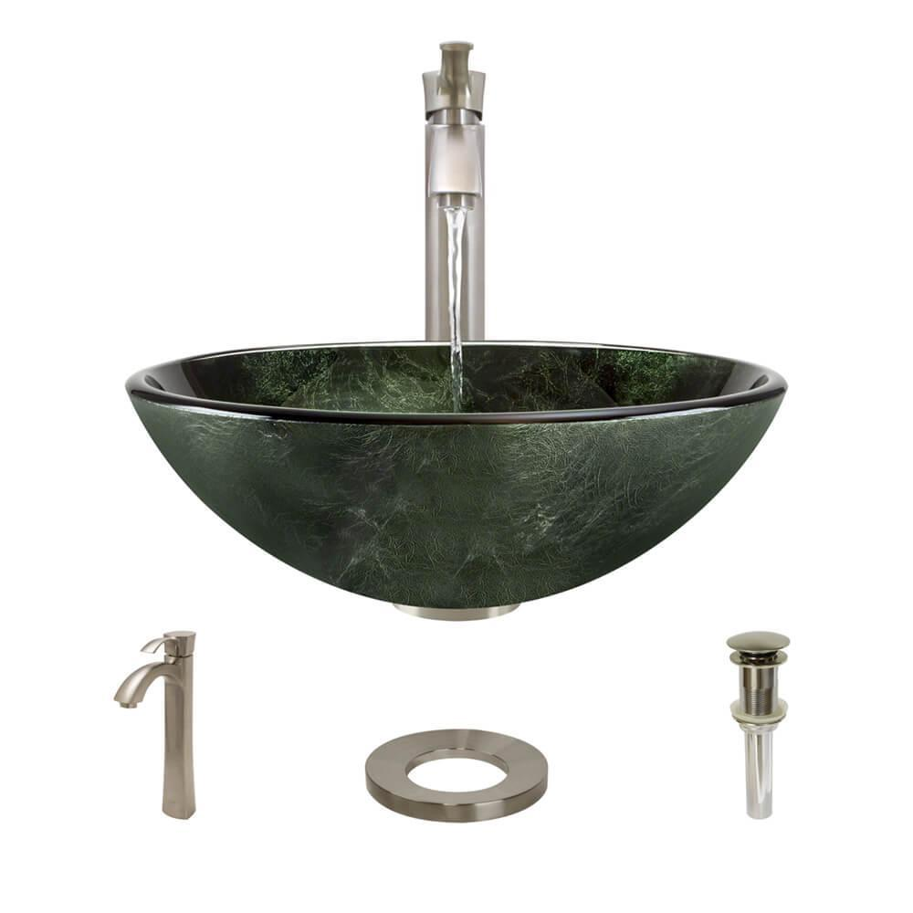 Glass Vessel Sink in Woodland Green and Black with R9-7006 Faucet
