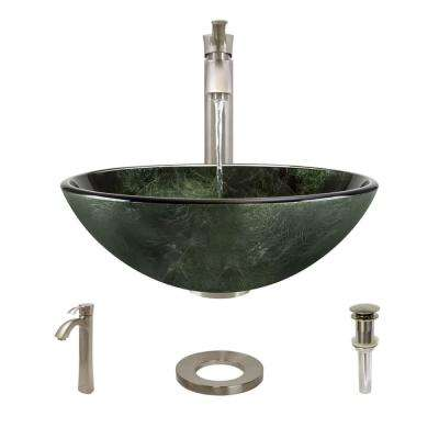 Glass Vessel Sink in Woodland Green and Black with R9-7006 Faucet and Pop-Up Drain in Bushed Nickel