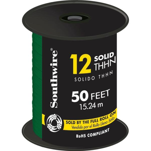 50 ft. 12 Green Solid CU THHN Wire