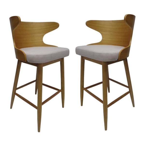 Kamryn Mid-Century Modern 30.25 in. Natural Wooden Bar Stools with Beige Fabric Seat Cushion (Set of 2)