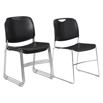 NPS 8500 Series Black Ultra-Compact Plastic Stack Chair (4-Pack)