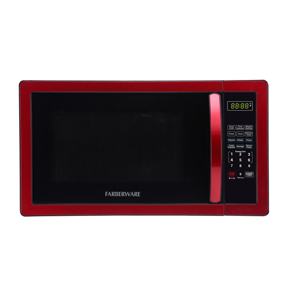 Farberware 1.1 cu. Ft. 1000-Watt Countertop Microwave Oven in Metallic Red