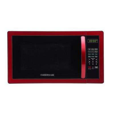 1.1 cu. Ft. 1000-Watt Countertop Microwave Oven in Metallic Red