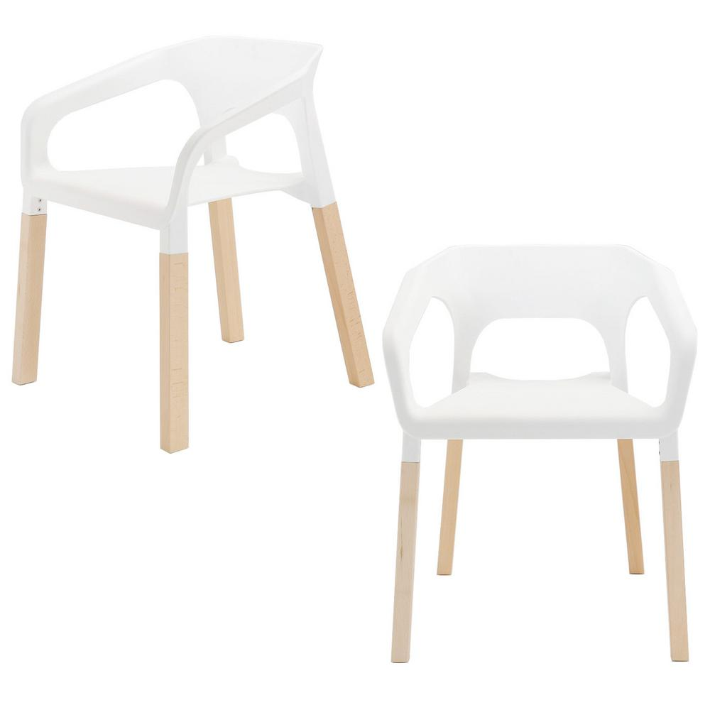 Amy Series White Modern Accent Dining Arm Chair With Beech Wood Leg Set Of 2