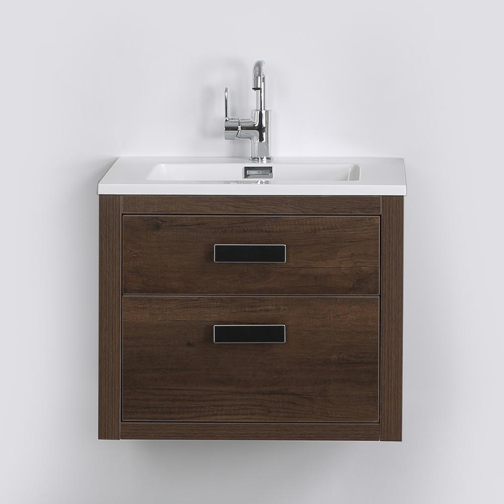 Streamline 23.6 in. W x 19.3 in. H Bath Vanity in Brown with Resin Vanity Top in White with White Basin