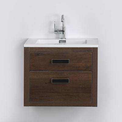 23.6 in. W x 19.3 in. H Bath Vanity in Brown with Resin Vanity Top in White with White Basin