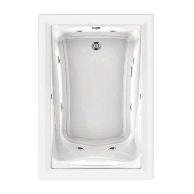 EverClean 60 in. x 32 in. Reversible Drain Whirlpool Tub in White