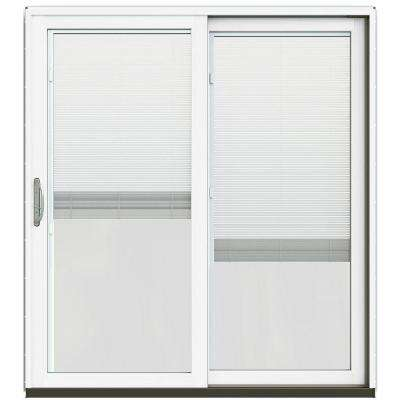 72 in. x 80 in. W-2500 Contemporary Black Clad Wood Right-Hand Full Lite Sliding Patio Door w/White Paint Interior