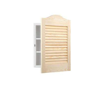 Louvered Arched 16 in. W x 24 in. H x 4-1/2 in. D Frameless Recessed Bathroom Cabinet with Unfinished Pine Door