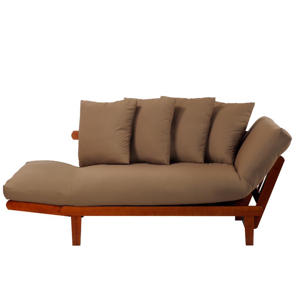 4 Casual Home Oak Frame And Khaki Fabric Lounger Sofa Bed