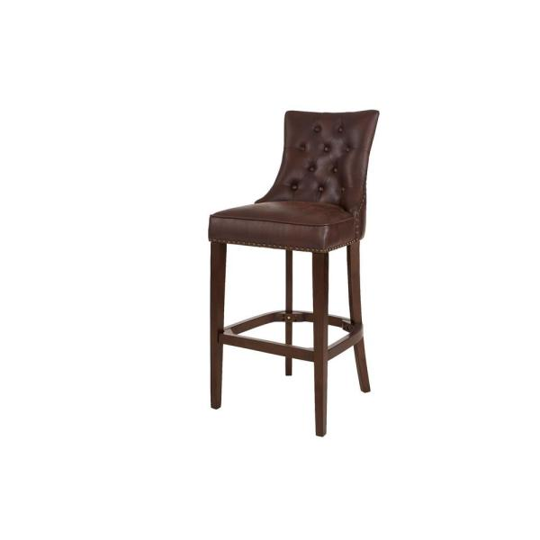 Bardell Upholstered Tufted Bar Stool with Brown Faux Leather Seat and Nailheads (20 in. W x 45.47 in. H)