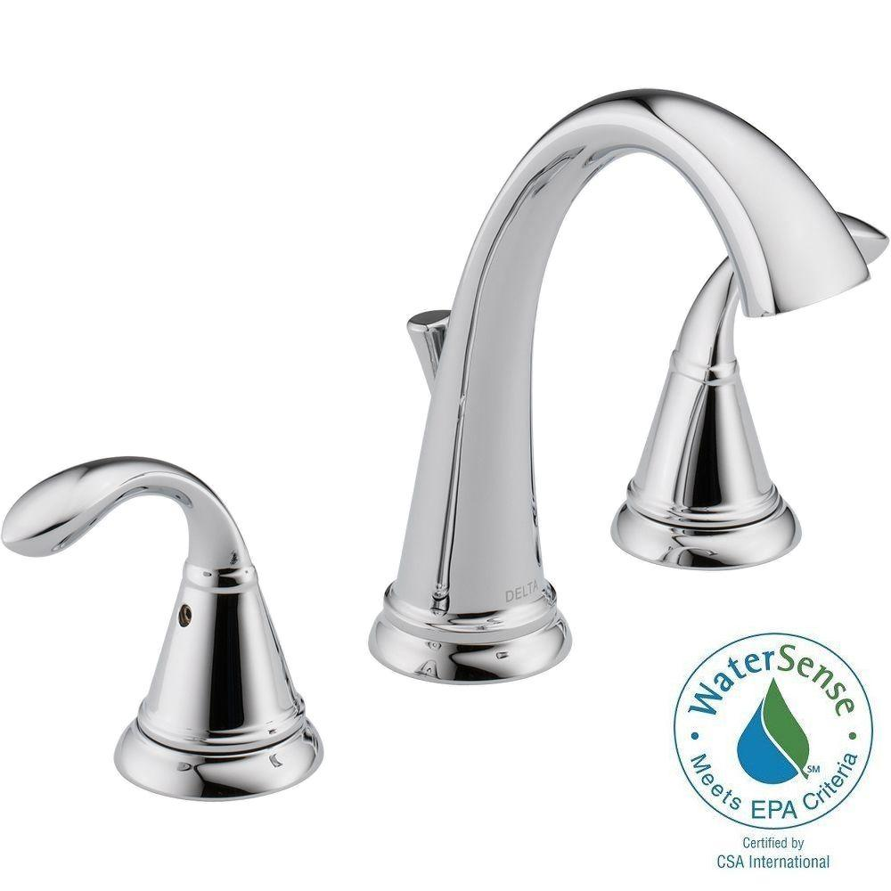Delta zella 8 in widespread 2 handle bathroom faucet in chrome 35706lf the home depot for Delta widespread bathroom faucet