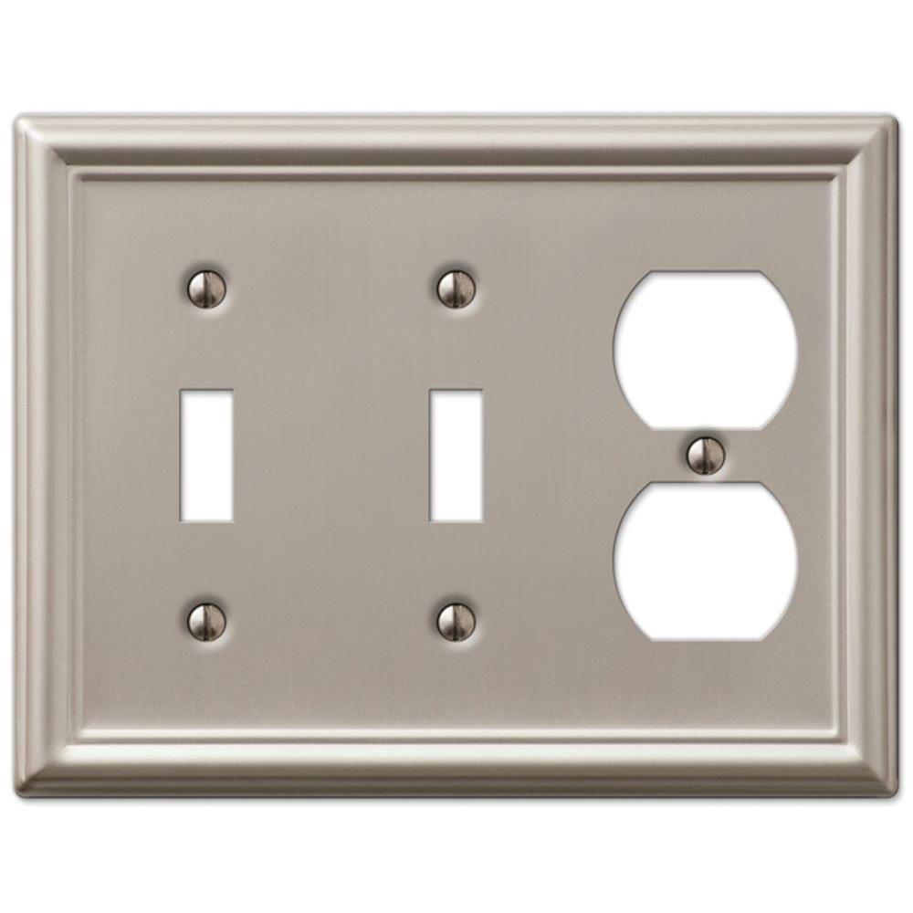 Amerelle Chelsea 2 Toggle And 1 Duplex Wall Plate Brushed Nickel