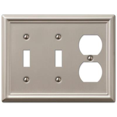 Ascher 3 Gang 2-Toggle and 1-Duplex Steel Wall Plate - Brushed Nickel