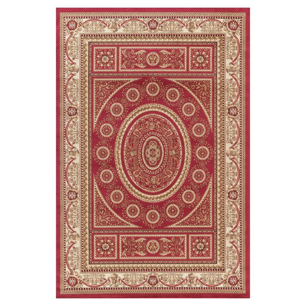 Jewel Aubusson Red 6 ft. 7 in. x 9 ft. 3