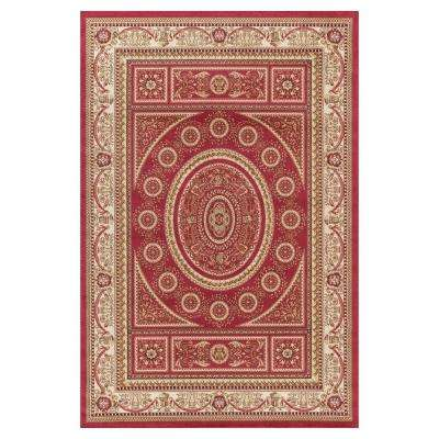 Jewel Aubusson Red 6 ft. 7 in. x 9 ft. 3 in. Area Rug