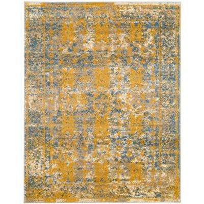 Scentasia Yellow-Blue Bordered 4 ft. x 6 ft. Area Rug