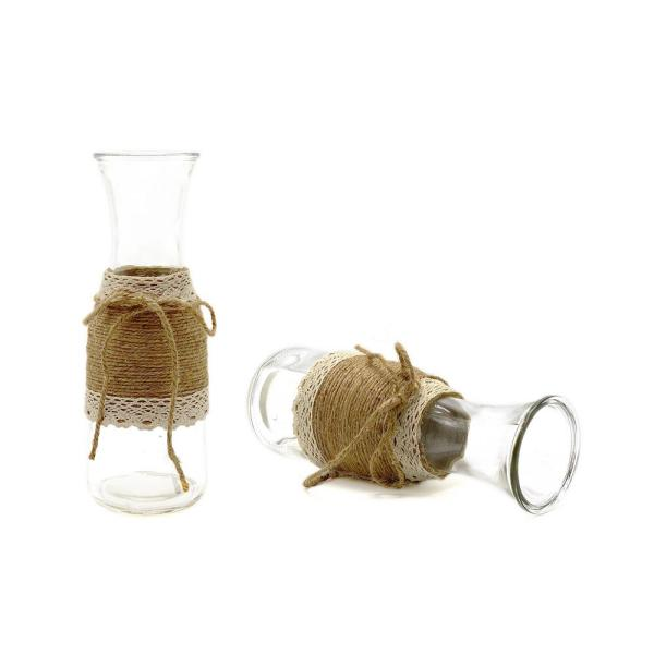 10.63 in. H Clear Glass Table Vase with Jute Trim (Set of 2)
