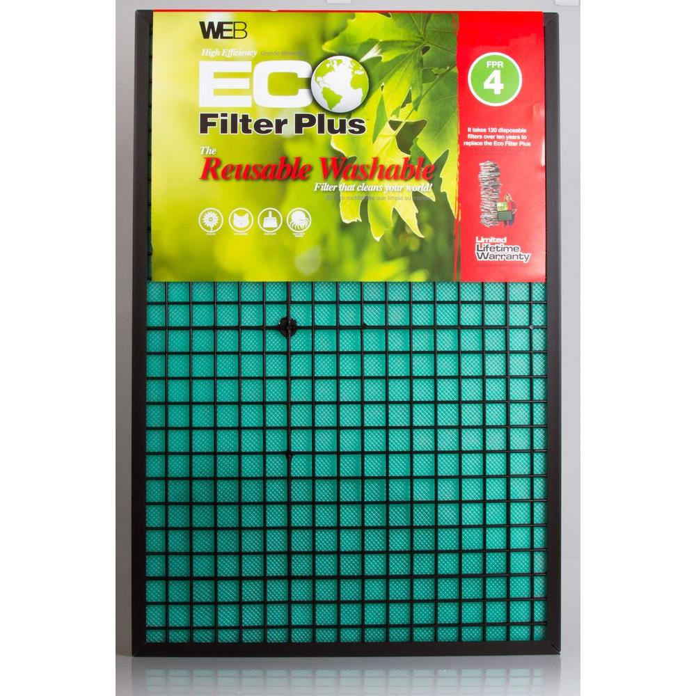 Web 14 in. x 25 in. x 1 in. Eco Plus Washable Three-Phase Electrostatic Filter FPR 4 Air Filter