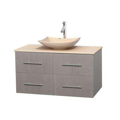 Centra 42 in. Vanity in Gray Oak with Marble Vanity Top in Ivory and Sink