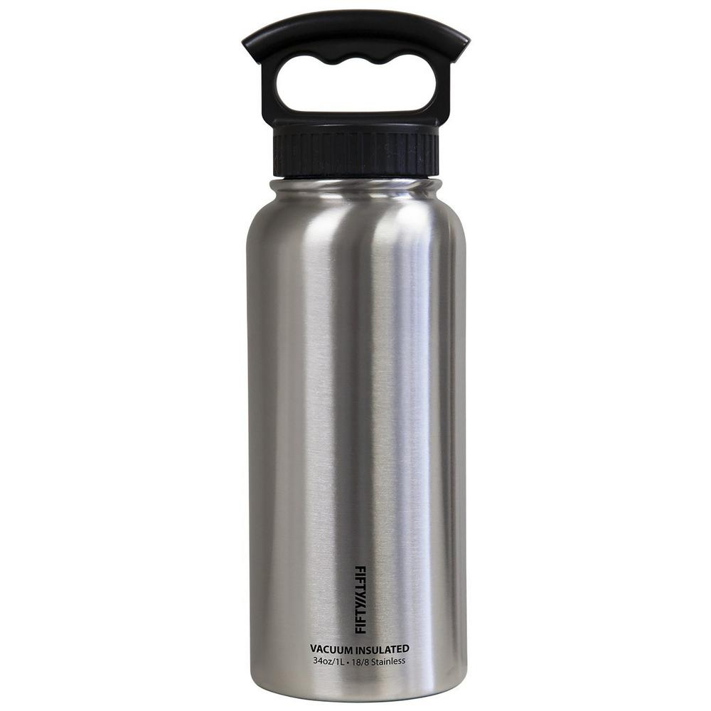 34 oz. Vacuum-Insulated Bottle with Wide-Mouth 3-Finger Handle Lid in Stainless
